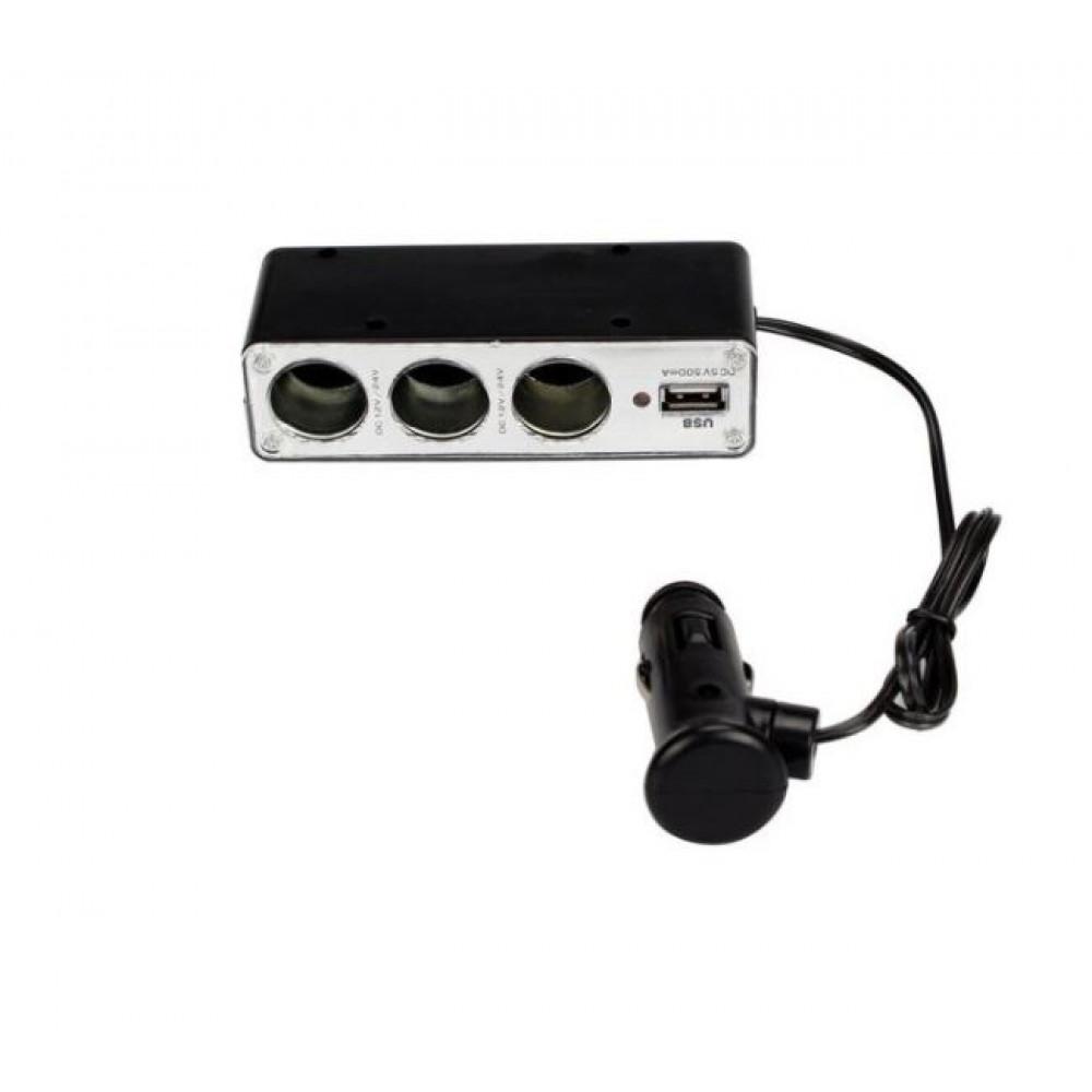Triple Car Cigarette Lighter Socket Splitter for Chargers, 1 x USB Port DC 5V, 12 / 24V