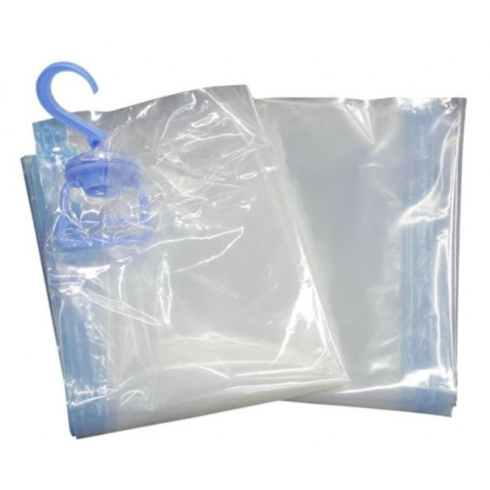 Sealed vacuum bag with hanger for storing seasonal clothes