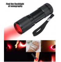 Portable red LED flashlight for finding veins and blood vessels