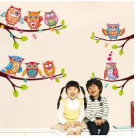 Childrens room wall decor - sticker Cartoon owls on a twig