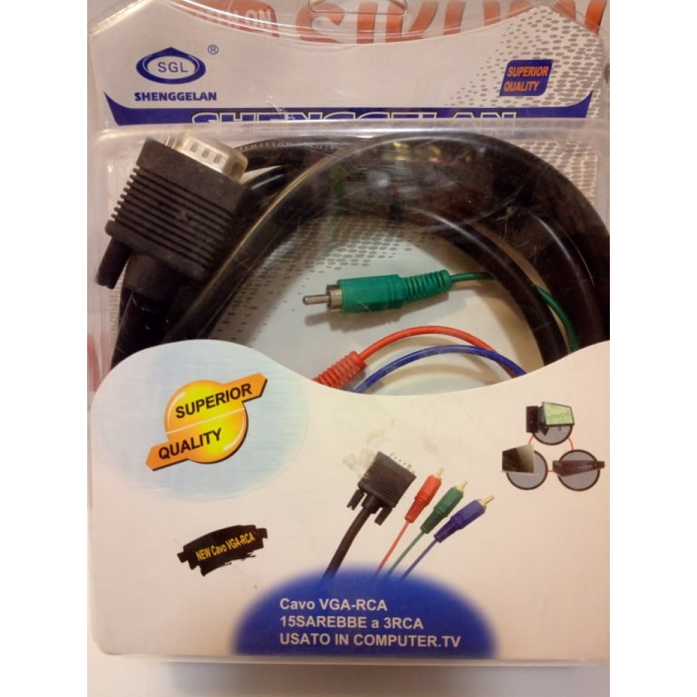 Adapter cable VGA male papa - 3 x RCA male papa tulips, 1.5 meters for connecting a video card to a TV
