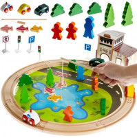 Wooden railroad + game fish on a magnet