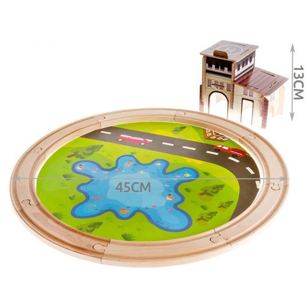 Interactive toy Wooden railway with a station and a pond + a game of fish on a magnet