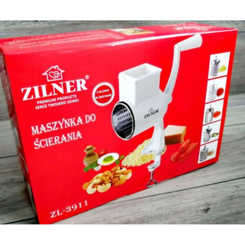 Vegetable slicer - Zilner, manual rotary grater with a table mount and changeable nozzles